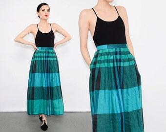 80s Checkered PLAID Skirt High Waisted Retro Preppy Linen Cotton 1980s Pleated Midi Skirt Blue Green Black Small S