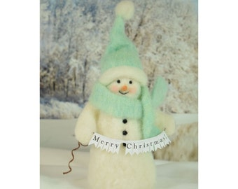 Merry Christmas Banner and a Fluffy White Wool Snowman Holiday Decor