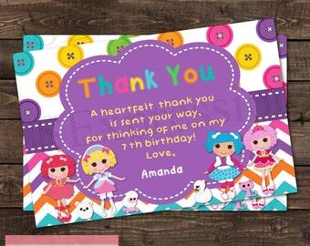 Rag Doll Birthday Party Thank You Card