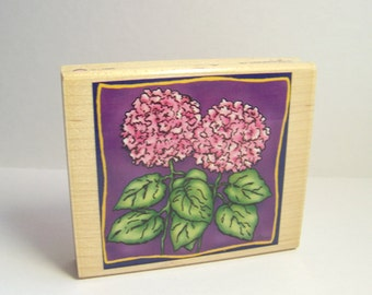 Vintage Stamp, Handmade Wooden Stamp by Inkadinkado. Nature Stamp, Hydrangias, Wood Mounted Rubber Stamp