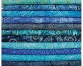 Hoffman Bali Batiks, 12 Shades of Blue! 12 Fat Quarter Bundle Pre-Cuts!  Fat Quarter Batik Sampler--100% Cotton