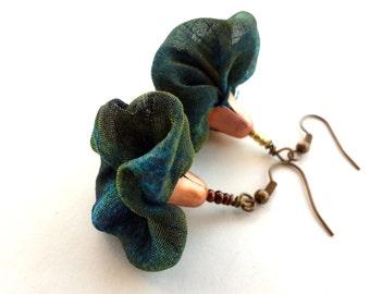 Dark teal flower dangles,  light to wear flower dangles, fiber flower dangle, cool elegant flower, Chiffon flower dangle
