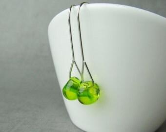 Chartreuse Modern Earrings, Peridot Green Earrings, Green Dangle Earrings, Modern Wire Earrings Green, Sterling Silver Minimalist Earrings