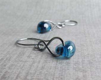 Blueberry Glass Dangles, Blue Dangle Earrings, Oxidized Wire Earrings, Lampwork Earrings, Oxidized Sterling Silver Earrings, Blue Earrings