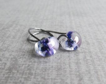 Small Mottled Purple Earrings, Purple Lampwork Earrings, Purple Glass Drop Earrings, Small Wire Dangles, Oxidized Sterling Small Earrings