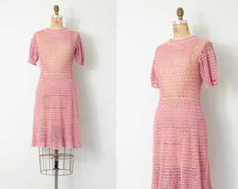 vintage 1940s knit dress / 40s dusty rose knit dress / Blushing