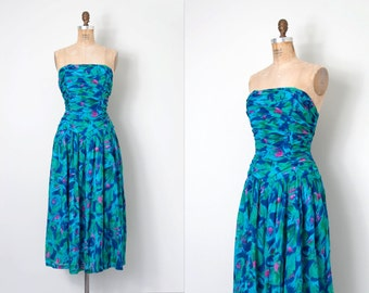 vintage 1980s dress / strapless indian cotton 80s Adini dress / Summer Fling