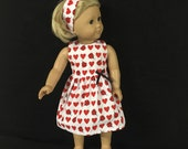 Doll Clothes for American Girl and Some Other 18 Inch Dolls, Love Bugs Ladybugs Lots of Hearts Valentine's Day Dress