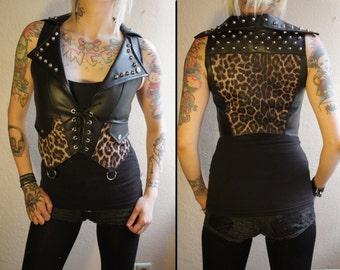 Kissin' Bombs studded fauxleather leopard vest
