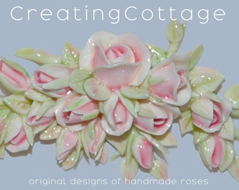 Bouquet of Pink Roses Shabby Chic Frame or Furniture Appliques Romantic Cottage Style original design OOAK