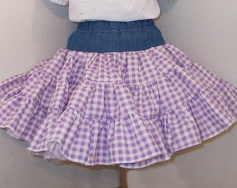 Country Cowgirl Denim and Gingham Full Ruffled Twirly Square Dance Skirt, Infant/Baby, Toddler, Girls