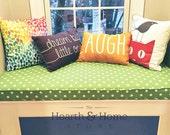 Custom Sewn  Window Seat Cushion with Cording Playroom, Nursery, Bench Seat , Chair Pad