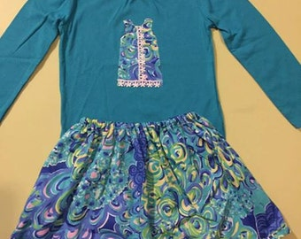 Ready to Ship size 4t Lilly's Lagoon Lilly Pulitzer girls set shirt and skirt