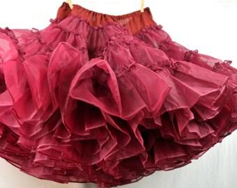 Vintage Red Maroon Squaredancing Petticoat Tutu Crinoline Slip