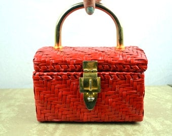 Cute Red Basket Handbag Purse Case