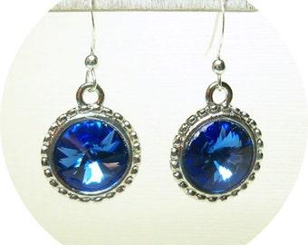 Blue Earrings, Sapphire Blue Earrings, Bridesmaid Earrings, Blue Dangle Earrings, Bridal Accessories, Rivoli Crystals, Blue and Silver