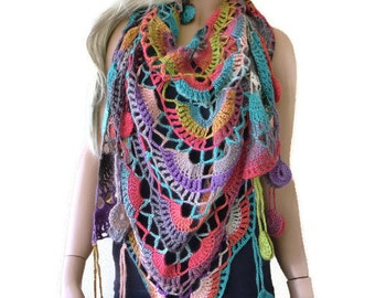 Teneriffe scarf- Bohemian crochet scarf-Multicolor Crochet lace scarf with fringes-Silk and mohair-Handmade Boho scarf-OnlyONE