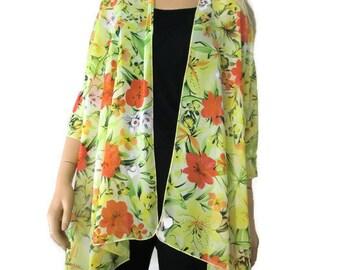 Boho kimono Cardigan - Yellow green floral chiffon with bold hibiscus flowers-Ruana cardigan -Layering piece-Many colors