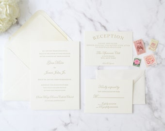Elegant Letterpress Wedding Invitation Card Suite