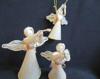 Grass Angel Chorus, set of 3, Vintage Christmas Ornaments, Angels, Rustic Christmas