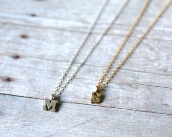 Gold or Silver Initial Necklace, Letter Necklace, Alphabet Necklace, 14k Gold Filled Chain, Gold Necklace