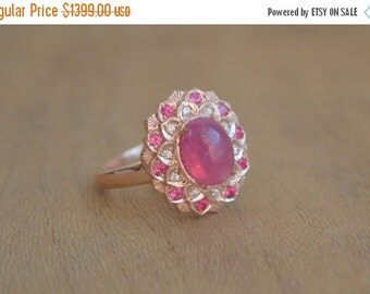SALE Oval Camellia Ring with Mahenge and Burma Spinel and Diamond in 14 K Rose Gold