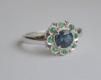 Larger Round Camellia Ring with Spinel, Emerald and Amethyst in 14 Kt White Gold