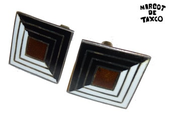 Margot de Taxco Cuff Links. Sterling Silver. Vintage Made in Taxco Mexico. Circa 1950s. Black, Brown and White Enamel. Geometric Design.