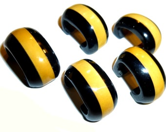Five Laminated Yellow and Black Bakelite Half Round Buttons. Unusual and Scarce. 1940s.
