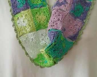 Summery Cowl - Trendy - Hand-crocheted in Luxury Cotton - Bright Pastels - Ready to Ship