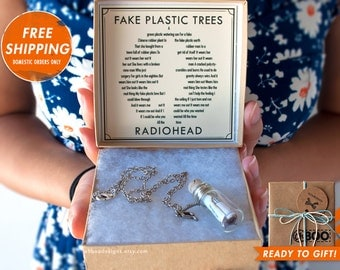 Song in a Bottle Necklace - Fake Plastic Trees by Radiohead - Personalized Radiohead Necklace Bottle - Anniversary Gift - Ready Ships fast