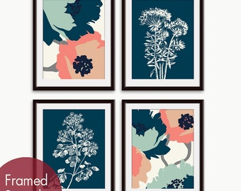 Flower and Geometric Patterns (Series C) Set of 4 - Art Prints (Navy, Silver Sage and Coral Rose color scheme) Botanical Art Print