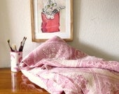"""Vintage Blanket Wool / Color field pink and white / Antique /Thick double weave blanket / 2 sided woven pattern / throw / 60"""" x 76"""""""