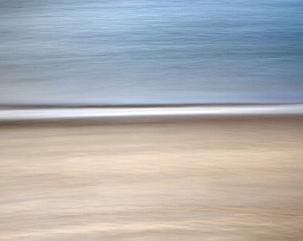 Abstract Photograph, Brown and Blue, Beach Decor, Seascape, Ocean and Sand, 8X10 Mat