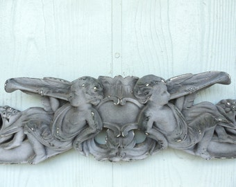 Vintage Angel Cherub Wall Decor Shabby Chic White Chalkware