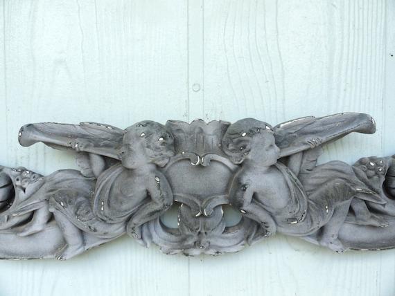 Vintage cherub wall decor : Vintage angel cherub wall decor shabby chic white chalkware
