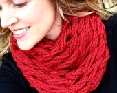 WINTER SPECIAL Cozy Knit Infinity Scarf, Arm knit, Crimson, red, Neck scarf, infinity scarf, knit scarf, circle scarf, fall, winter