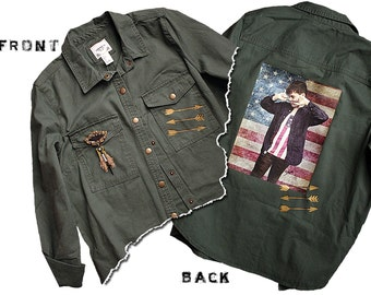 American Camo Glam Custom Handpainted Denim Shirt