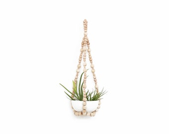 FELIX Hanging Planter .02 - Small Modern Plant Hanger - Wood Bead Planter