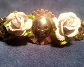 Steampunk Hair Fashion Barrette with Off White Paper Flowers Metal Skull Silver on Copper