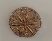 Vintage  Clear Glass Button with Gold  Metallic  - 1 button