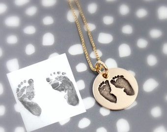 Yellow Gold Actual Footprints Necklace - New Mom Necklace - Stillbirth - Remembrance Memorial Necklace - Silver, Rose Gold, Yellow Gold