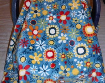 Daisy Bouquet Dusk Blue Yellow Red and White Cuddle and Blue Two Toned Polka Dot Flannel Baby Carrier Cover