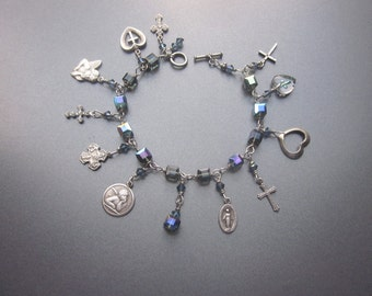 Religious Charm Bracelet Vintage Medals and Crystals Devotional Jewelry Assemblage Bracelet