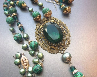 Assemblage Necklace Set Pearl Malachite Vintage Repurposed Jewelry Baroque Style with Earrings