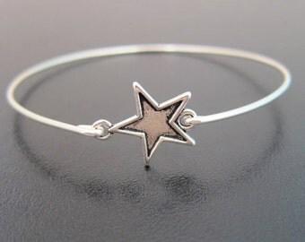 Silver Star Bracelet, Silver Star Bangle Bracelet, Silver Star Jewelry, Lone Star Bracelet, Star Charm Bracelet