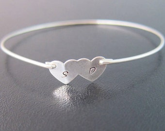 Two Hearts Bracelet, Christmas Gift for Wife, Gift for Her, Personalized Wedding Gift for Bride, Anniversary Gift for Wife, 2 Initials