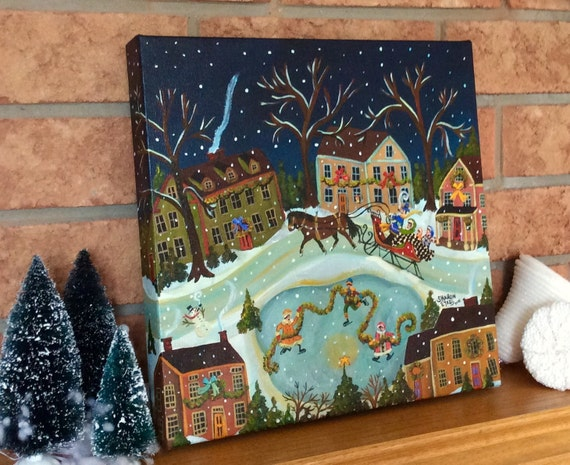 Primitive folk art painting Christmas Holiday Winter Ice Skaters Horse and Sleigh in a Colonial Village by artist Sharon Eyres