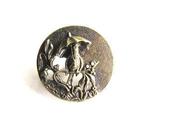 Large Swallow Metal Button Picture Umbrella Parasol Antique Brass  c1900 Victorian Tinted Pierced