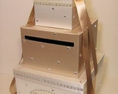 Wedding Card Box Champagne and Ivory  Gift Card Box Money Box Holder--Customize your color